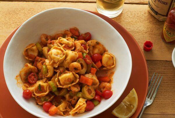 Bloody Mary Shrimp and Tortellini Pasta Salad