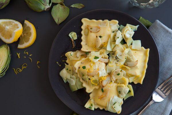 Gluten-Free Kale, Garlic & Cheese Ravioli with Artichoke Sauce